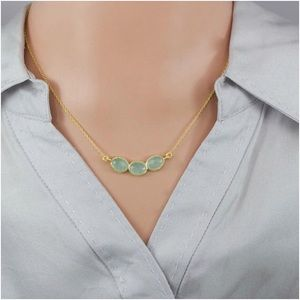 Sterling Silver Natural Green Chalcedony Necklace